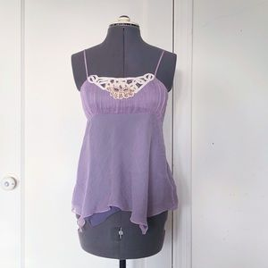 To the Max lavender embellished silk babydoll top